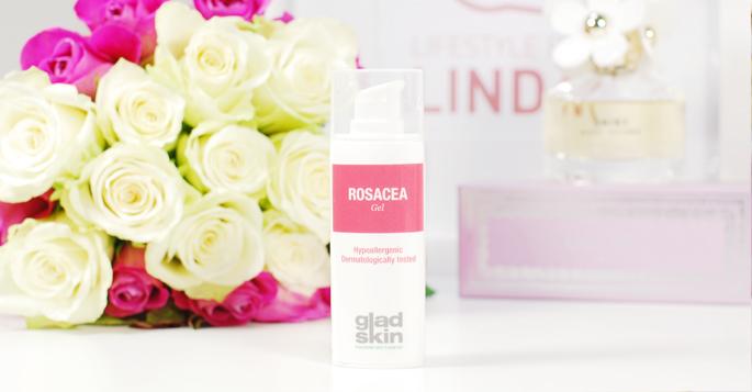 Rosacea gel hypoallergeen dermatologisch getest Gladskin bacterial skin balance probleem huid rood heden plekjes review lifestyle by linda skin care