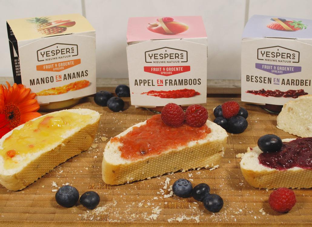 Yespers Yesper's nieuwe natuur fruit en groente spreads mango en ananas appel en framboos bessen en aardbei gezond brood beleg