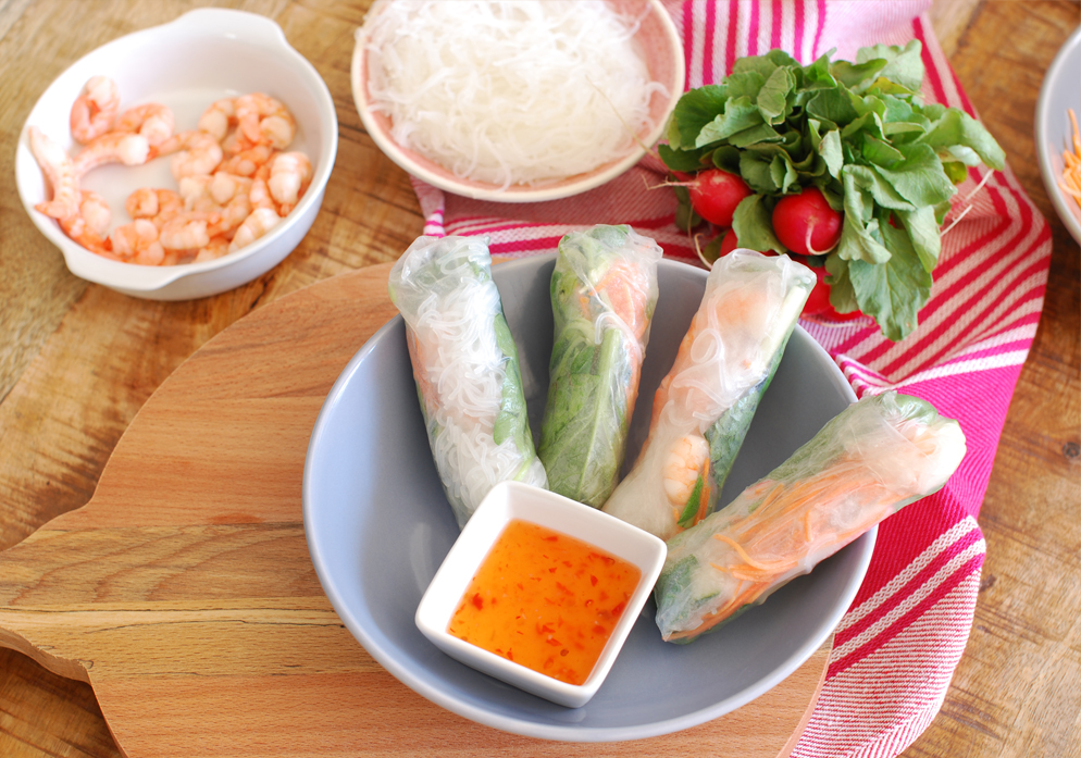 Rice paper rolls recept met vis fish