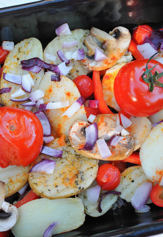 Healthy Vegan BBQ groente schotel