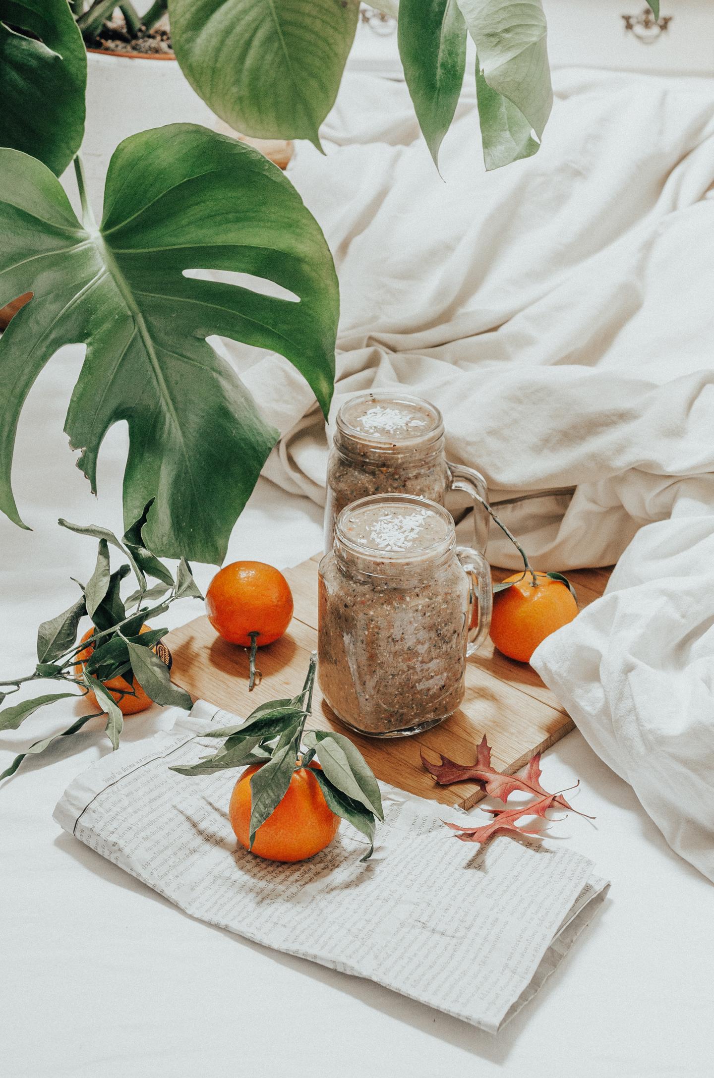 Ontbijt smoothie voedzaam afvallen energie vegan